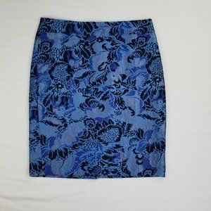 Ann Taylor Size 10 Blue Floral Lined Skirt